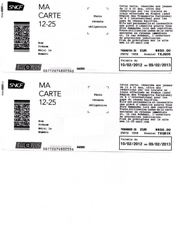Carte enfant 12-25 SNCF
